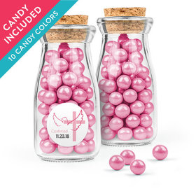 Personalized Girl Confirmation Favor Assembled Glass Bottle with Cork Top with Sixlets