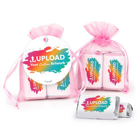 Personalized Add Your Artwork Hershey's Miniatures in Organza Bags with Gift Tag