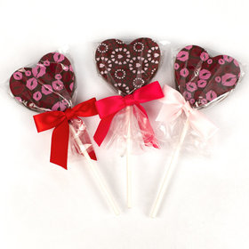 Gourmet Belgian Milk Chocolate Heart Valentine Lollipops (24 Count)
