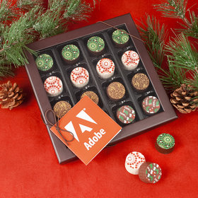 Personalized Add Your Logo Gourmet Belgian Chocolate Truffle Gift Box with Gift Tag (17 pieces)
