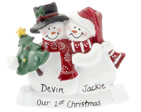 Snow Couple with Tree Ornament