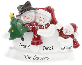 Snow Family of 3 with Tree Ornament