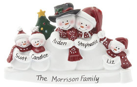 Snow Family of 5 with Tree Ornament