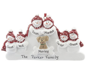 Snowman Family of 6 with Dog Ornament