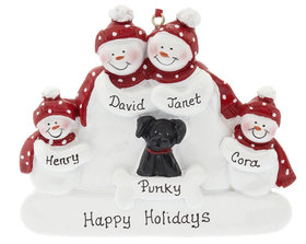Snowman Family of 4 with Black Dog Ornament