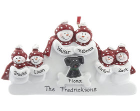 Snowman Family of 6 with Black Dog Ornament