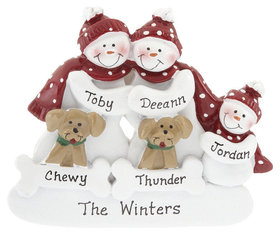 Snowman Family of 3 with 2 Dogs Ornament