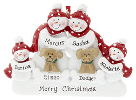 Snowman Family of 4 with 2 Dogs Ornament