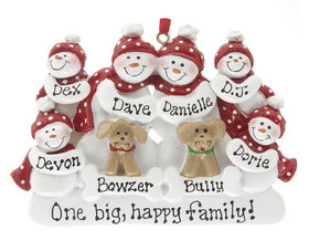 Snowman Family of 6 with 2 Dogs Ornament