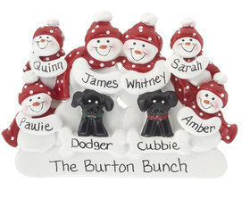 Snowman Family of 6 with 2 Black Dogs Ornament