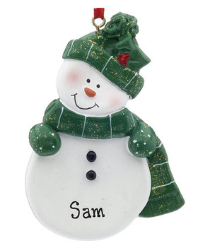 Snowman with Green Scarf and Hat Ornament
