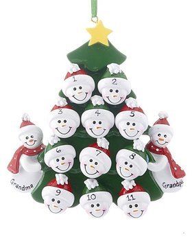 2 Snowmen Grandparents Tree with 11 Grandchildren Ornament