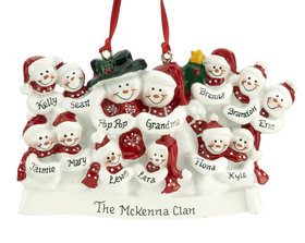 Snow Family of 13 with Tree Ornament