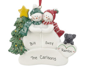 Snow Couple with Black Dog Ornament