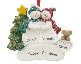 Snow Couple with Tan Dog Ornament