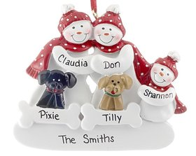 Snow Family of 3 with 2 Dogs (Black & Tan) Ornament