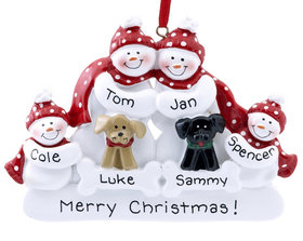 Snow Family of 4 with 2 Dogs (Black & Tan) Ornament