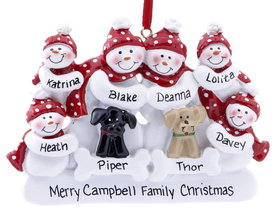 Snow Family of 6 with 2 Dogs (Black & Tan) Ornament