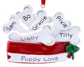 Pet Dish Filled with Dog Bones Ornament