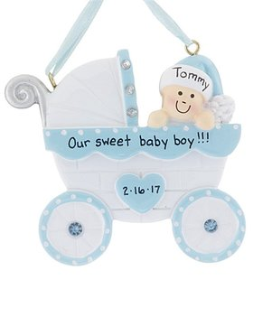 Baby Carriage Boy Baby Ornament