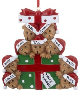 Bear Present Family of 9 Ornament