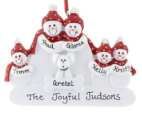 Snowman Family of 5 with White Dog Ornament