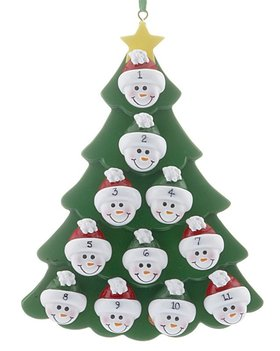Green Tree Snowman Faces 11 Ornament