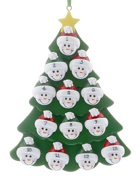 Green Tree Snowman Faces 13 Ornament