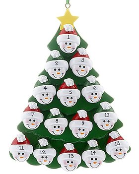 Green Tree Snowman Faces 15 Ornament