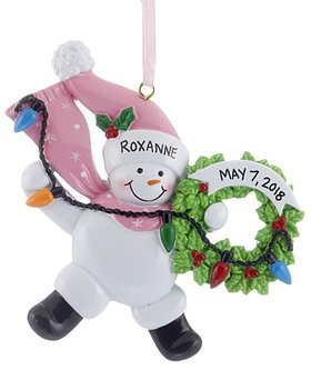Snowman Wreath (Pink) Ornament