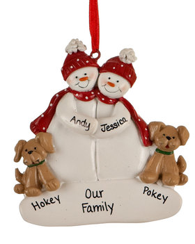 Snowman Couple with 2 Tan Dogs Ornament
