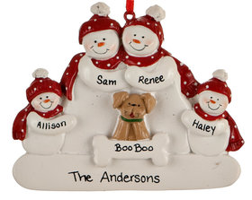 Snowman Family of 4 with Dog Ornament