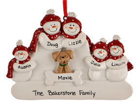 Snowman Family of 5 with Dog Ornament
