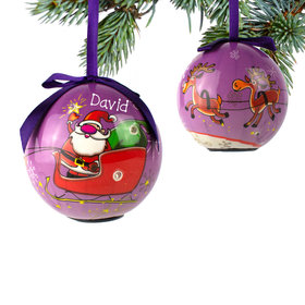 Santa Sleigh with Reindeer Ornament