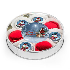 Merry Christmas Snowman Large Plastic Tin with 8 Chocolate Covered Oreo Cookies