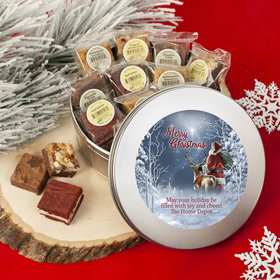 Personalized Christmas Starry Night Santa Tin with Brownies (approx 16 pcs)