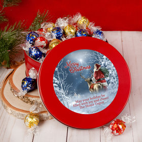 Personalized Christmas Starry Night Santa Tin with Lindt Truffles (approx 45 pcs)