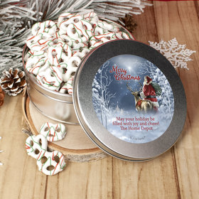 Personalized Christmas Starry Night Santa Tin with Holiday Yogurt Pretzels (1lb approx 80 pcs)