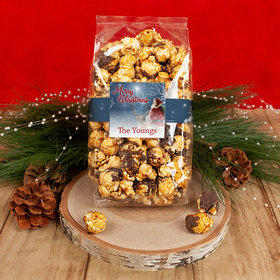 Personalized Christmas Starry Night Santa Chocolate Caramel Sea Salt Gourmet Popcorn 8 oz Bags