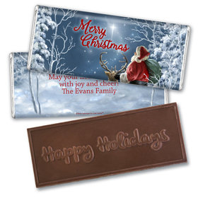 Personalized Christmas Starry Night Santa Embossed Chocolate Bar