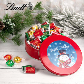 Christmas Jolly Snowman Tin with Lindt Truffles (approx 45 pcs)