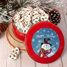 Happy Holidays Jolly Snowman Tin with Holiday Yogurt Pretzels (1lb approx 80 pcs)