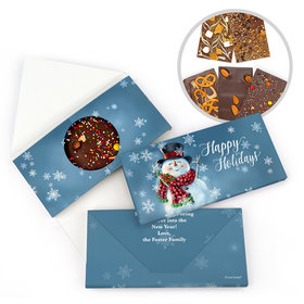 Personalized Christmas Joyful Jolly Snowman Gourmet Infused Belgian Chocolate Bars (3.5oz)