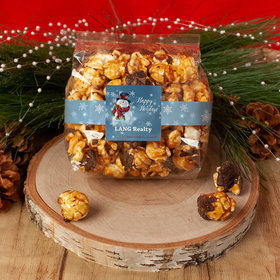 Personalized Christmas Jolly Snowman Chocolate Caramel Sea Salt Gourmet Popcorn 3.5 oz Bags