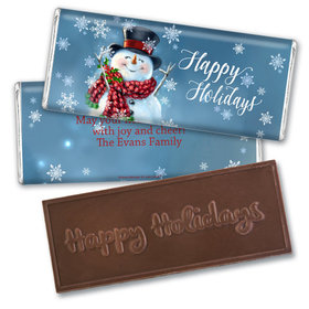 Personalized Christmas Jolly Snowman Embossed Chocolate Bar