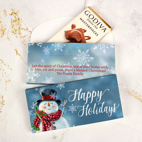 Deluxe Personalized Christmas Jolly Snowman Godiva Chocolate Bar in Gift Box