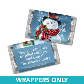 Personalized Christmas Jolly Snowman Mini Wrappers Only