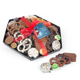 Happy Holidays Snowman Gourmet Belgian Chocolate Gift Tray (2lbs)