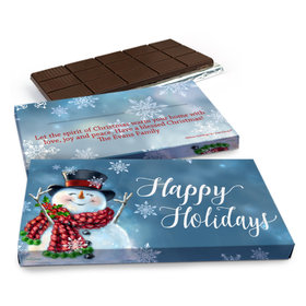 Deluxe Personalized Christmas Jolly Snowman Chocolate Bar in Gift Box (3oz Bar)