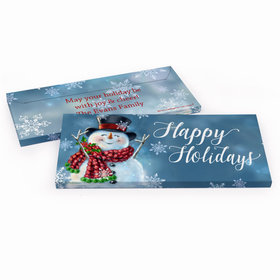 Deluxe Personalized Christmas Jolly Snowman Candy Bar Favor Box